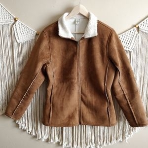 PrAna Brown Suede Leather Sherpa Lined Zip Coat L